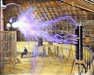 Tesla in his Lab
