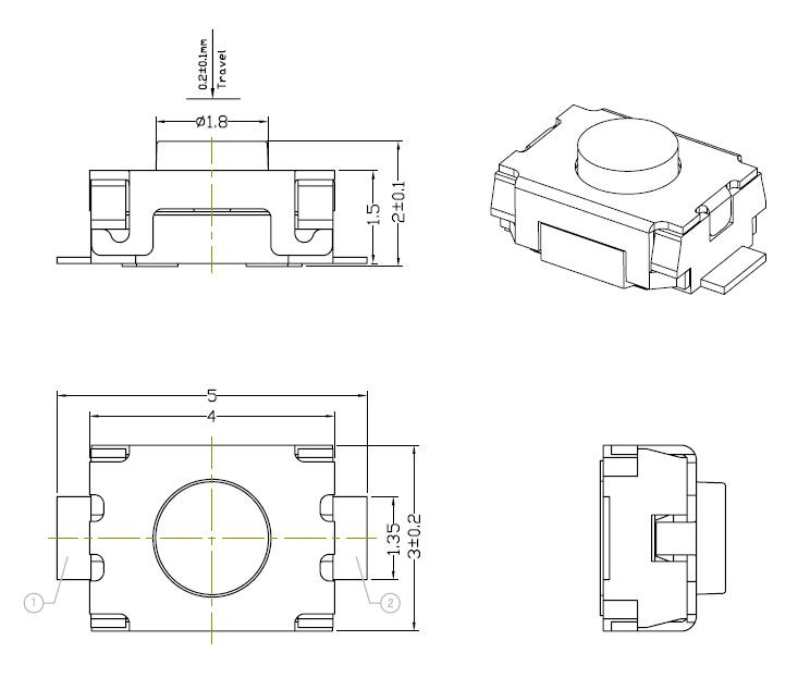 Mini Tact Switch Smd 3 X 4 X 2mm Custom Electronics Pwm